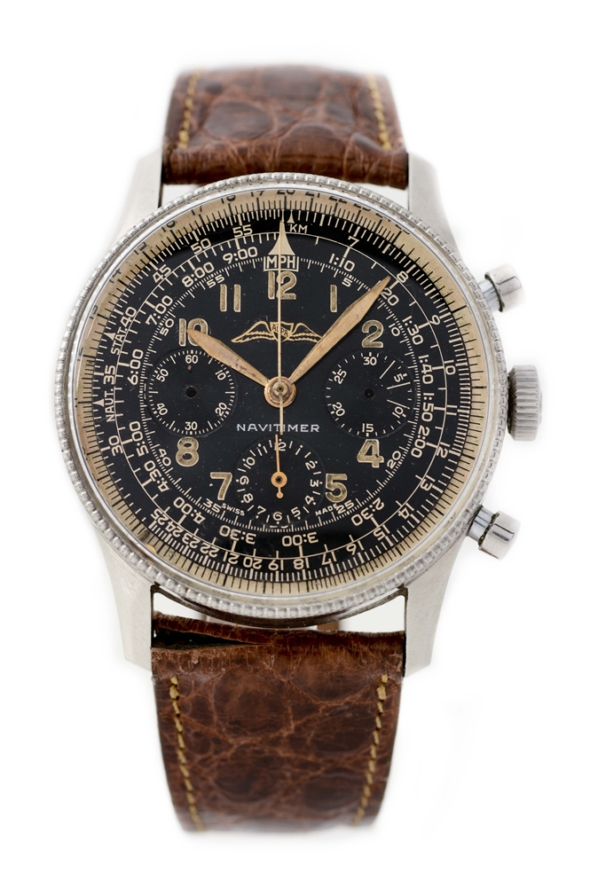 Vintage Breitling Stainless Steel Navitimer Wristwatch Model Number 806.