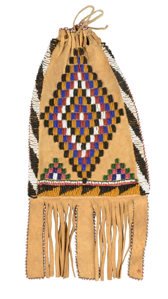 Apache Beaded Bag Circa 1900.