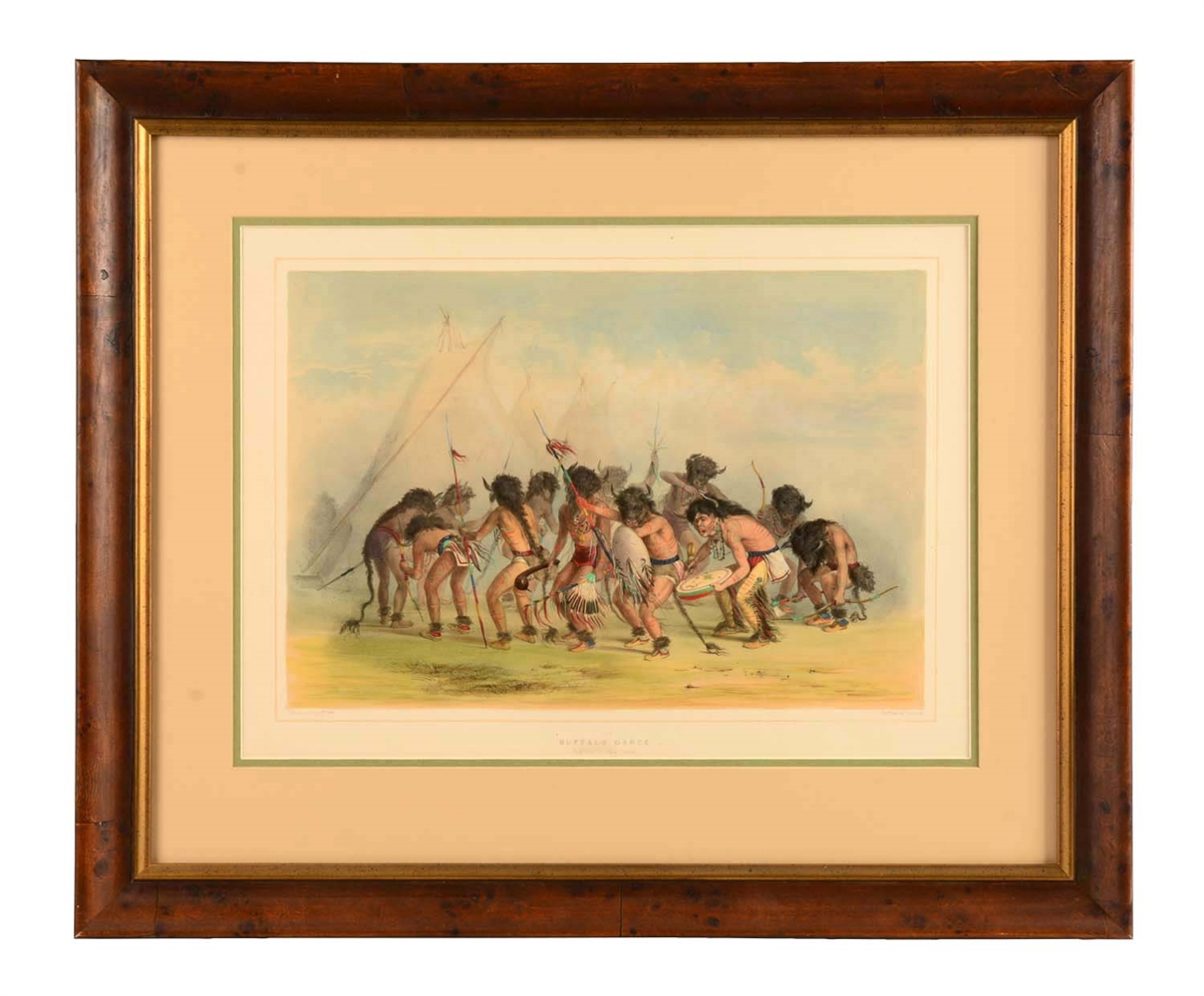 Buffalo Dance, No. 8 (from Catlins N. A. Indian Collection) Framed Lithograph.