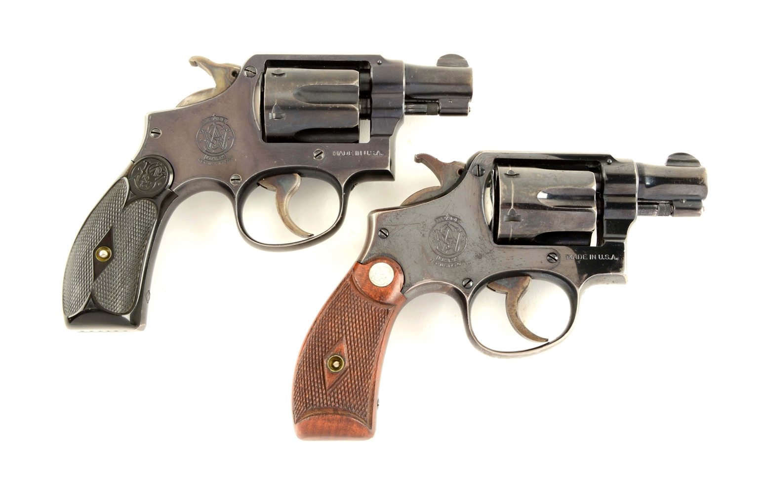 "(C) Lot of 2: Historic Consecutively Numbered S&W Hand Ejector Model M&P 2"" DA Revolvers."