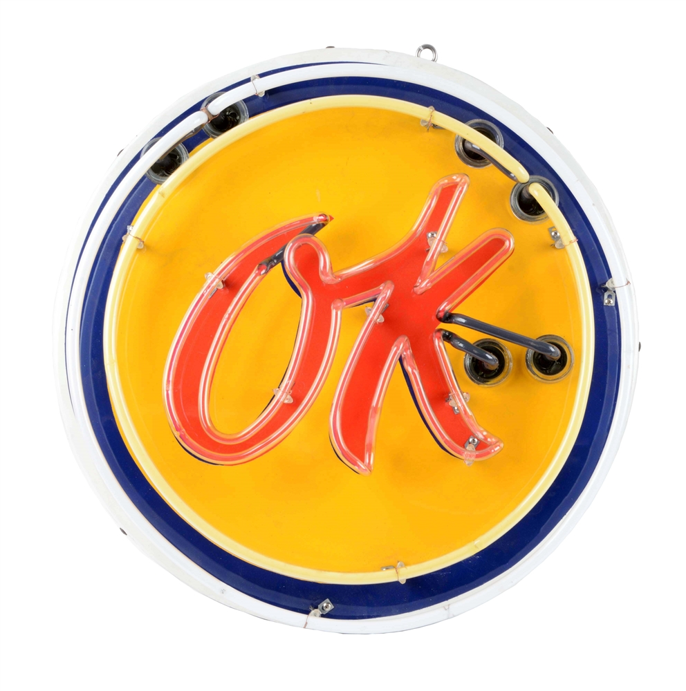 Restored OK Used Cars Porcelain Neon Sign.
