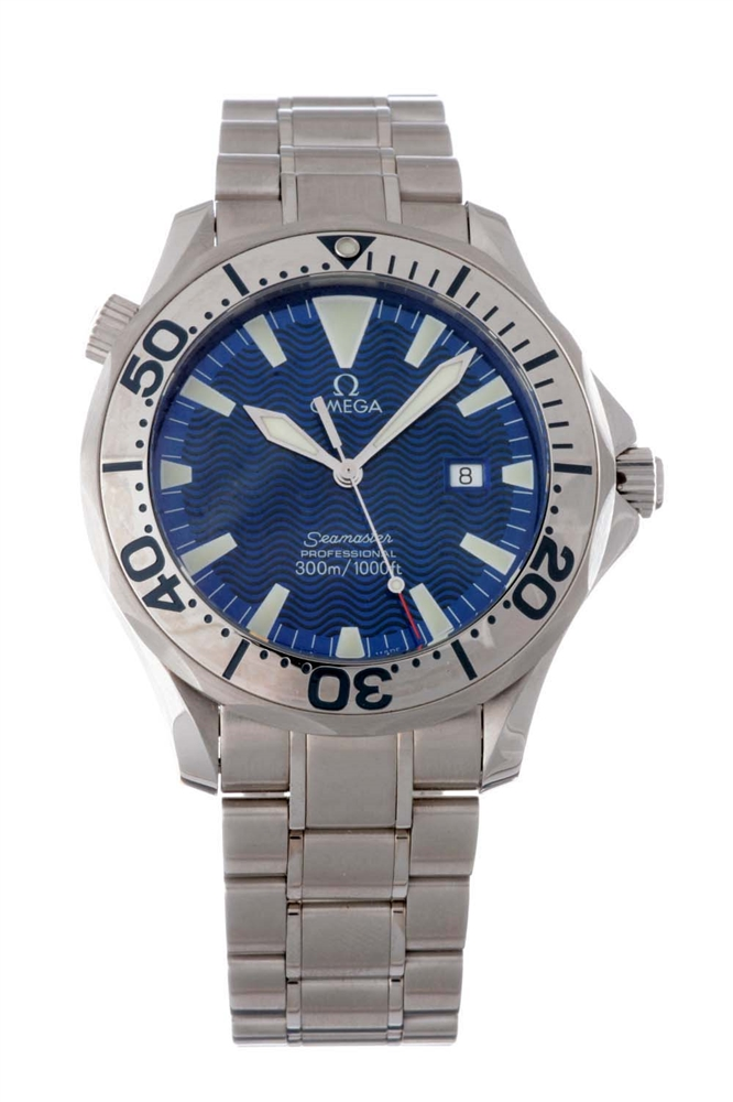 Omega Stainless Steel Seamaster Wristwatch.