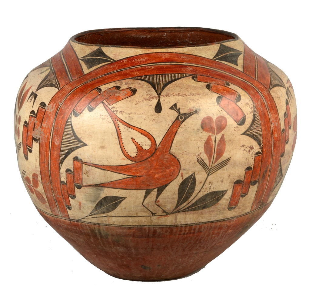 Large Zia Polychrome Pottery Olla.