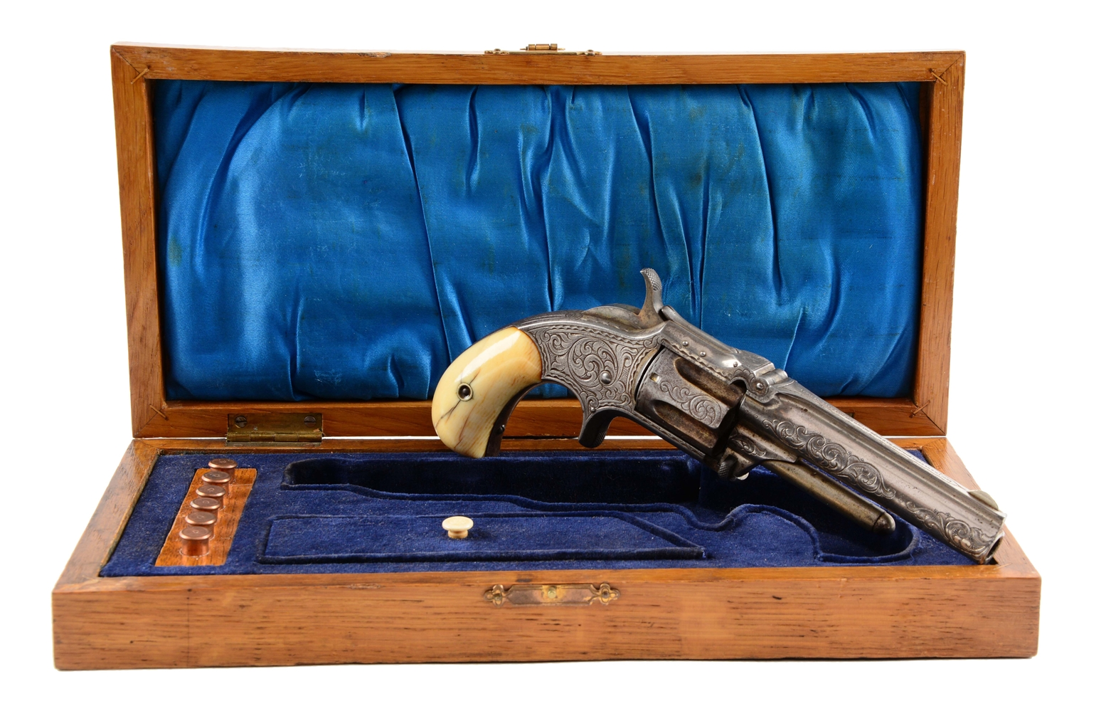 (A) S&W Cased & Factory Engraved Model 1-1/2 2nd Issue Revolver.