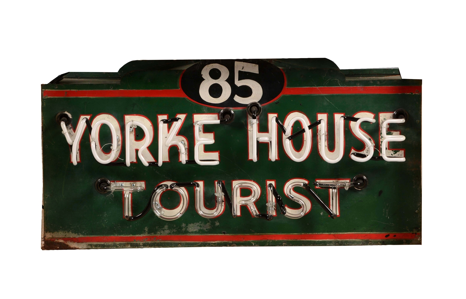 Yorke House Tourist Tin Neon Sign on Original Can.