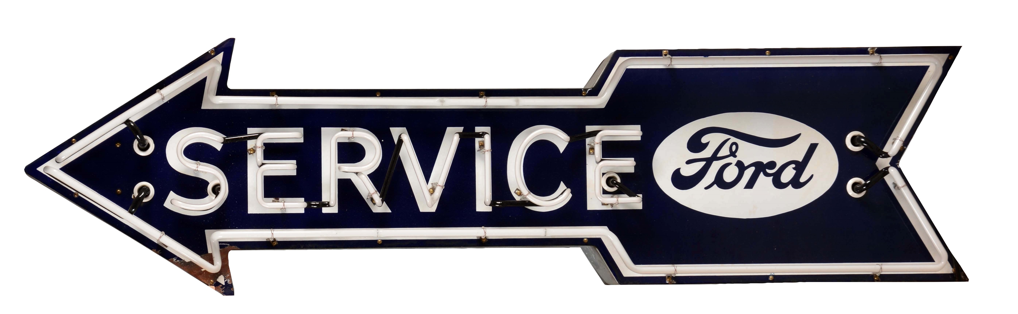 Ford Service Porcelain Neon Arrow Sign.