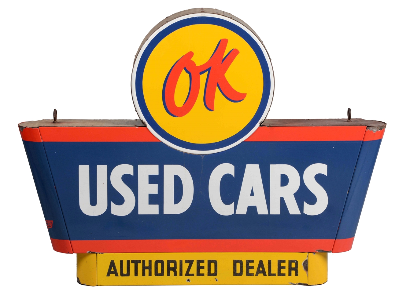 OK Used Cars Authorized Dealer Porcelain Sign on Original Can.