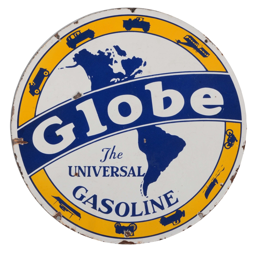 Globe Gasoline Porcelain Sign with Globe And Transportation Graphics.