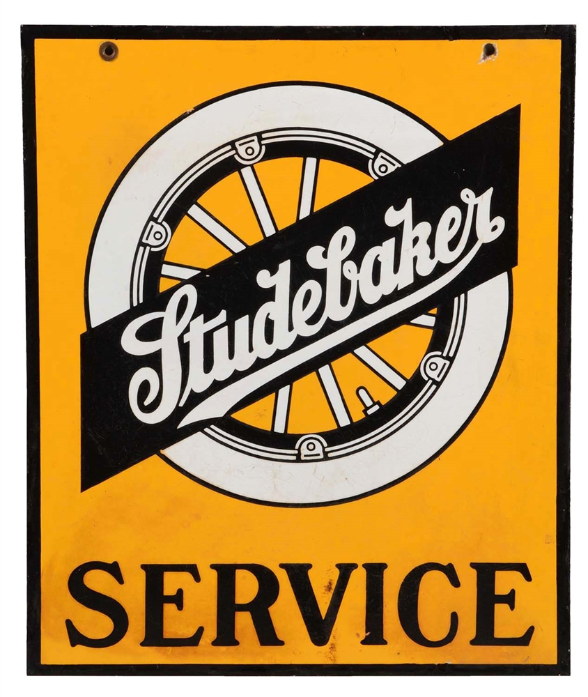 Studebaker Service Porcelain Sign with Wheel Graphic.