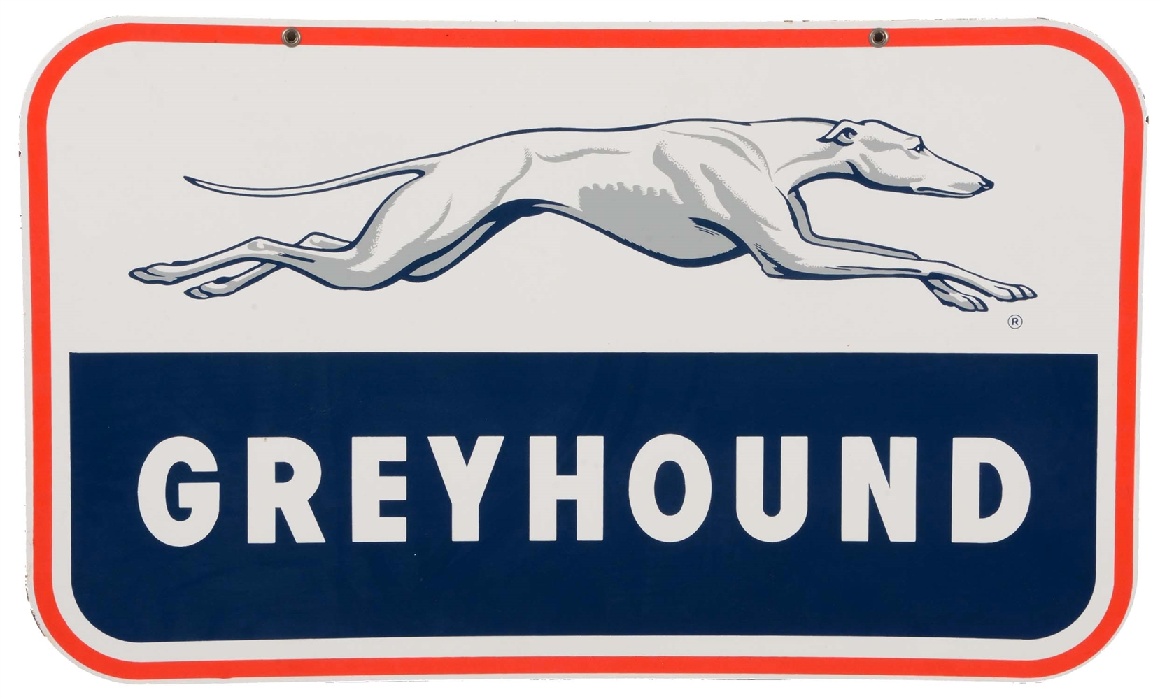 Greyhound Bus Lines Porcelain Sign with Dog Graphic.