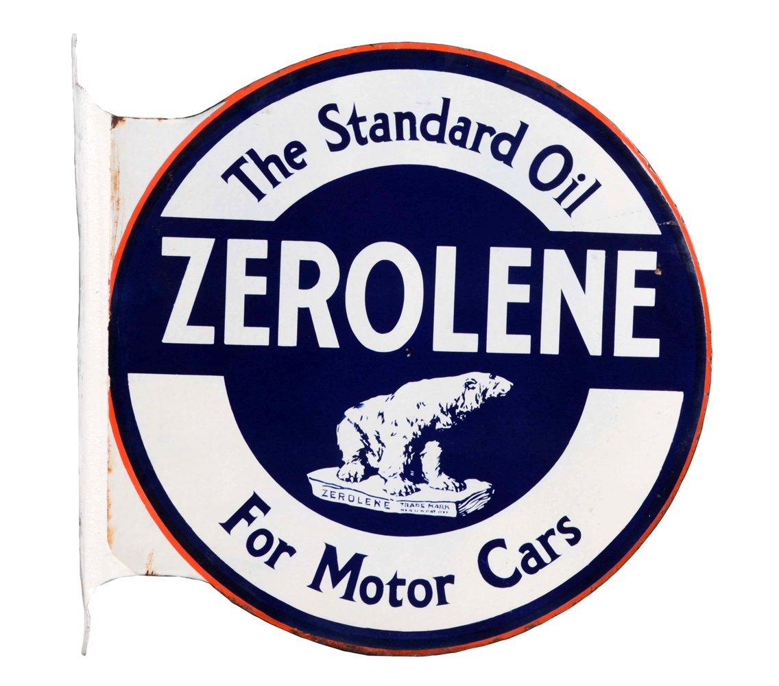 Zerolene For Motor Cars Porcelain Flange Sign with Polar Bear Graphic.