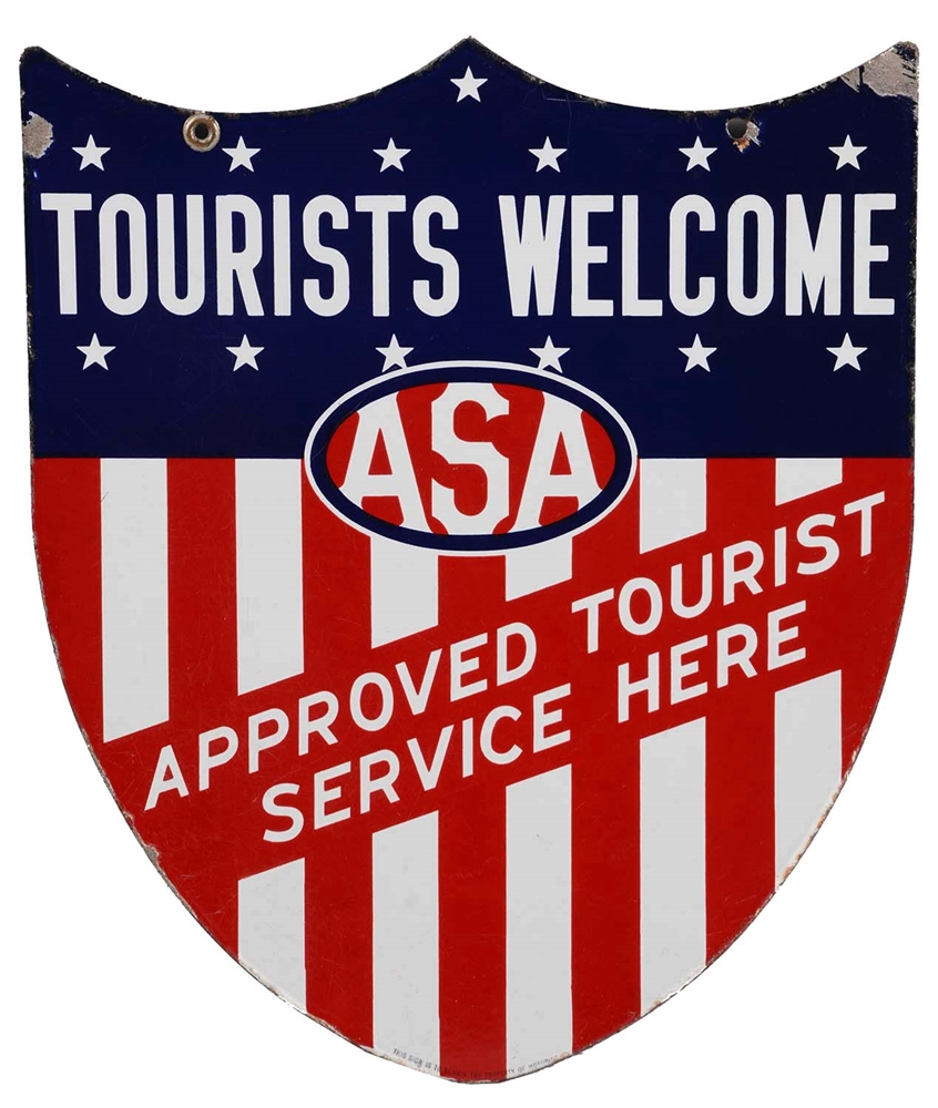 ASA Tourists Welcome Approved Service Porcelain Shield Sign.