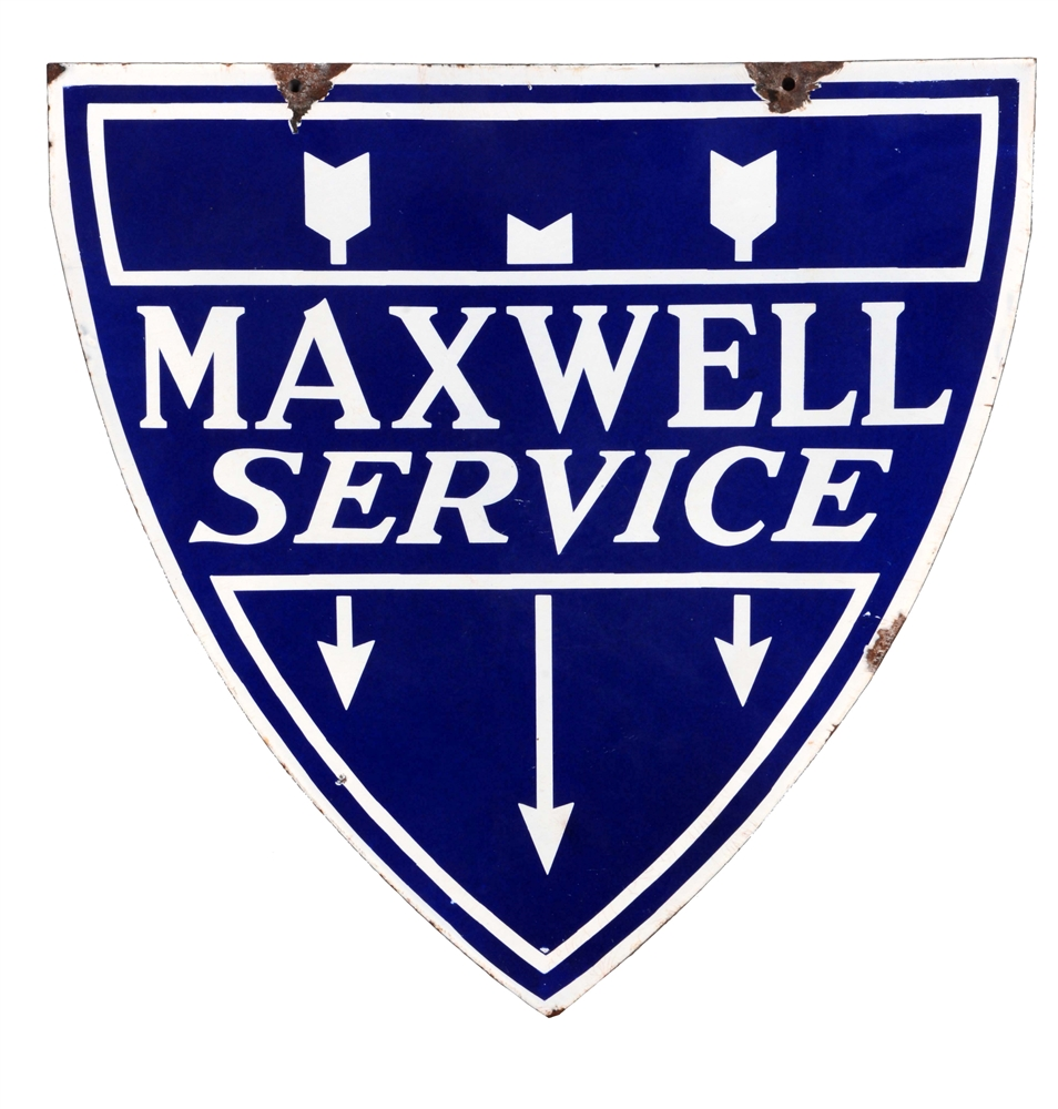 Maxwell Motorcars Service Porcelain Shield Sign.