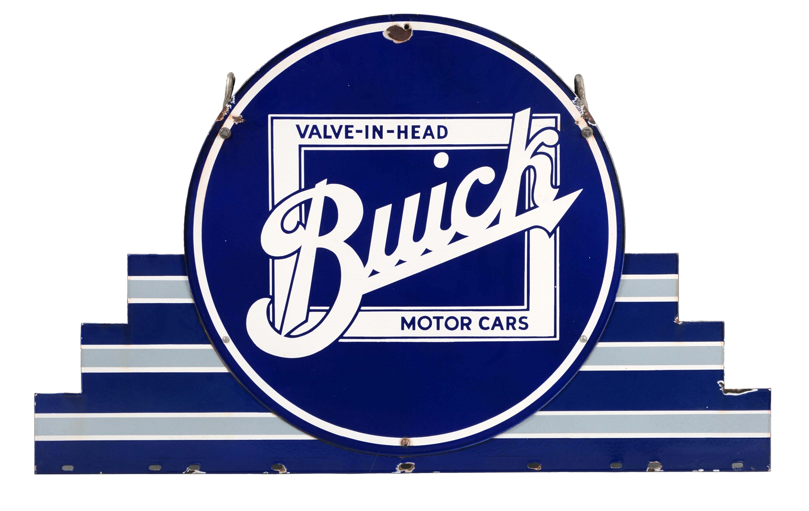 Buick Valve In Head Motor Cars Porcelain Sign with Porcelain Marquee.