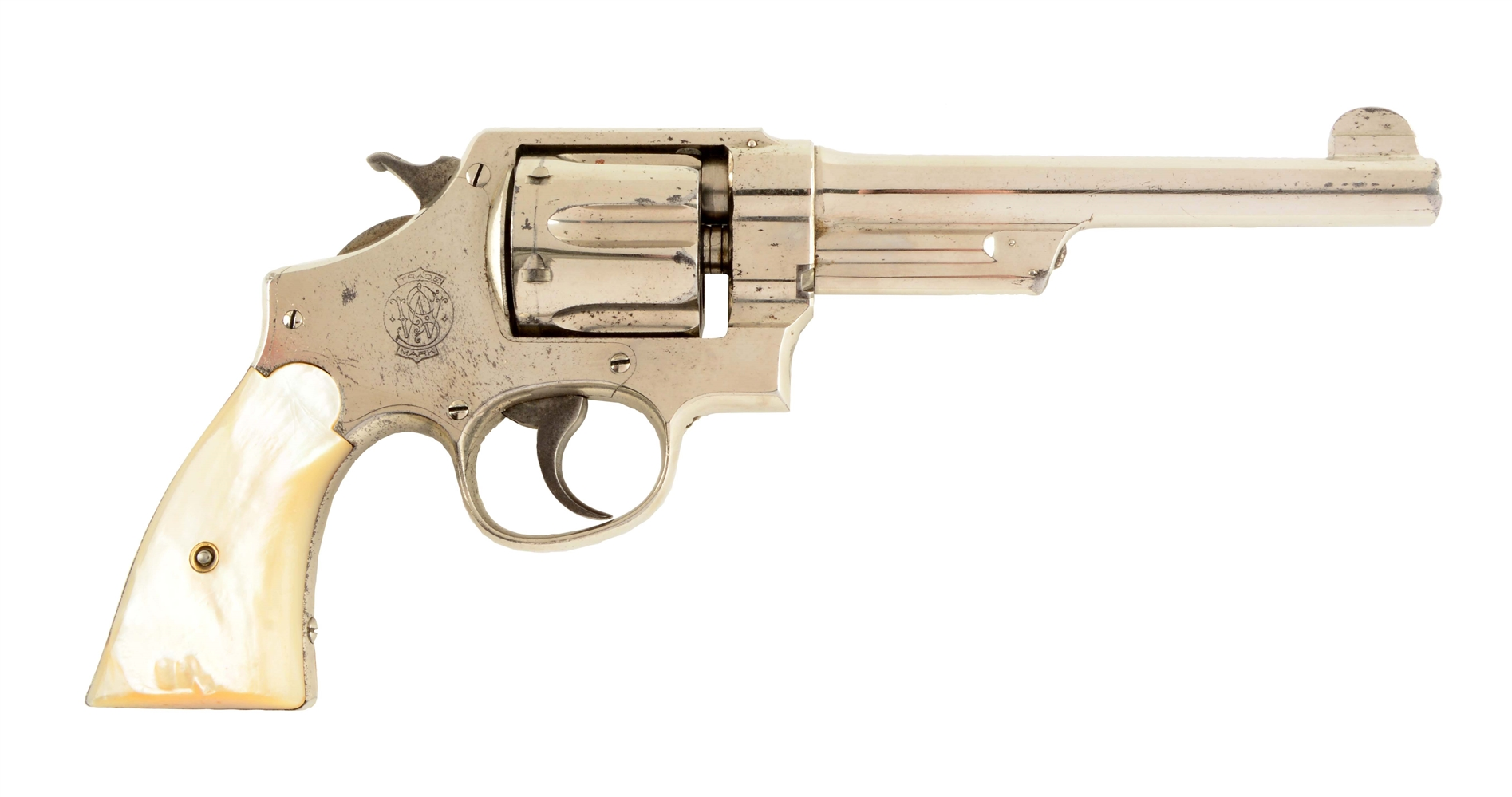 (C) Fine Factory Nickle S&W Triple-Lock Hand Ejector Revolver.