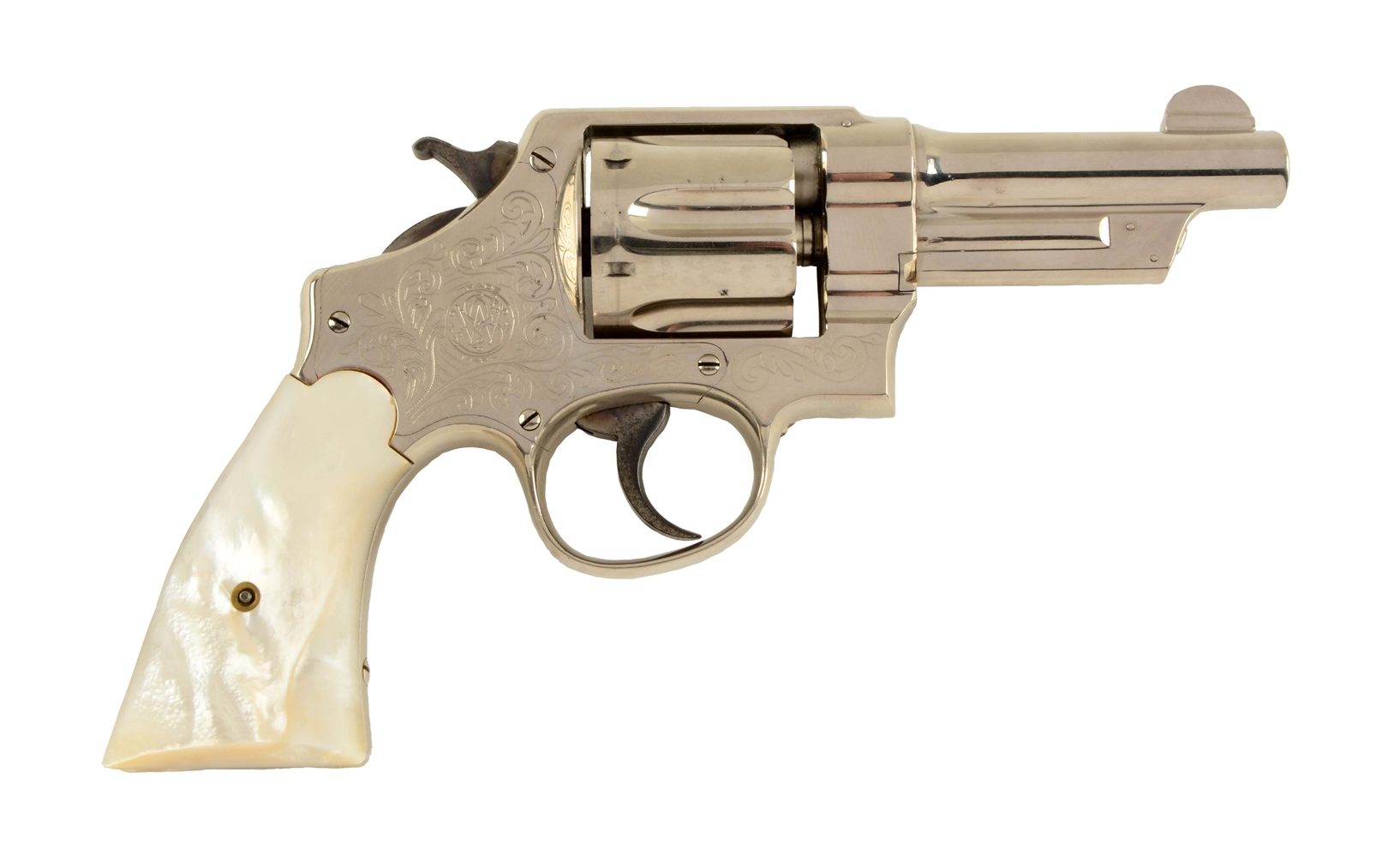 (C) Engraved & Plated S&W Triple Lock Revolver.