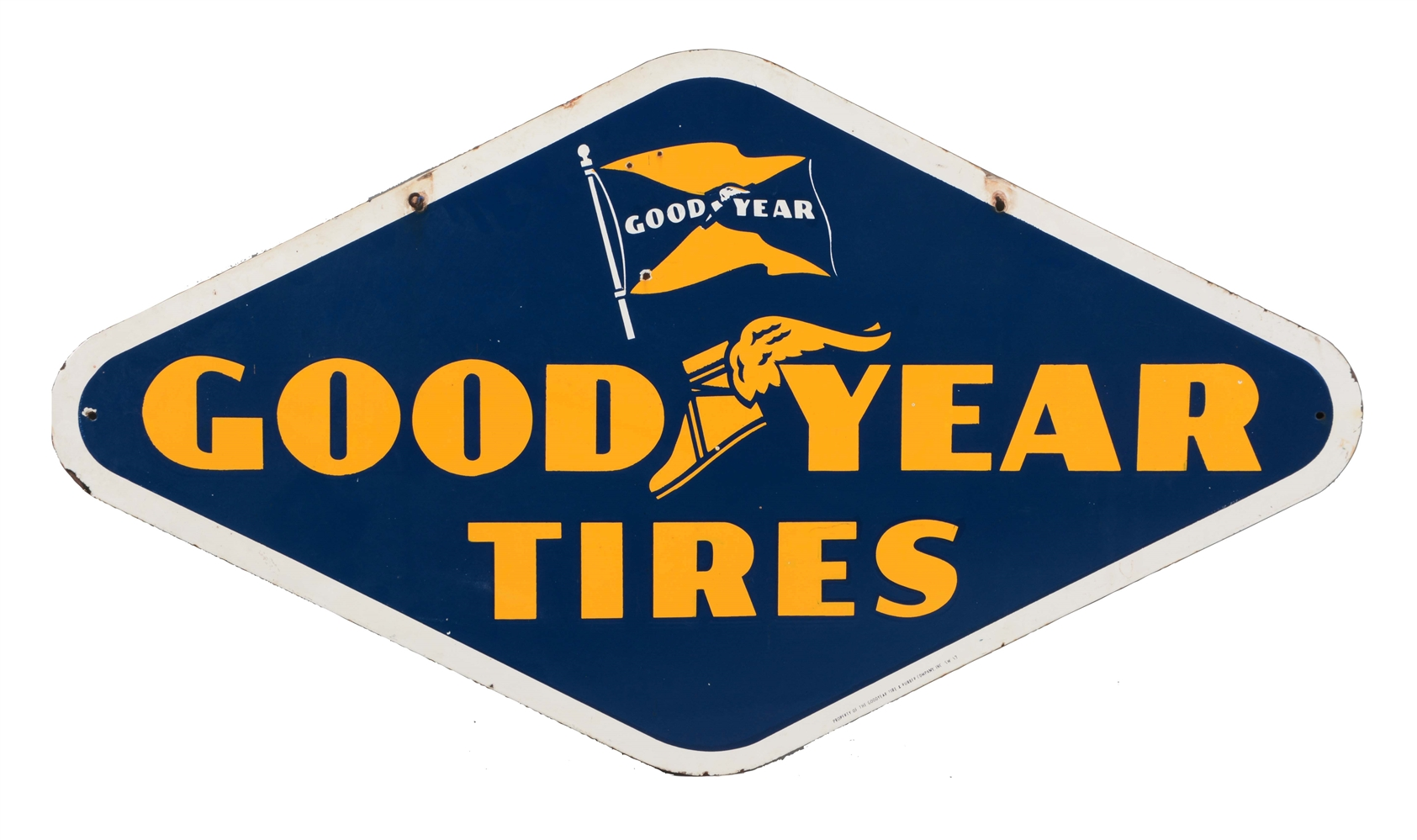Good Year Tires Diamond Shaped Porcelain Sign.