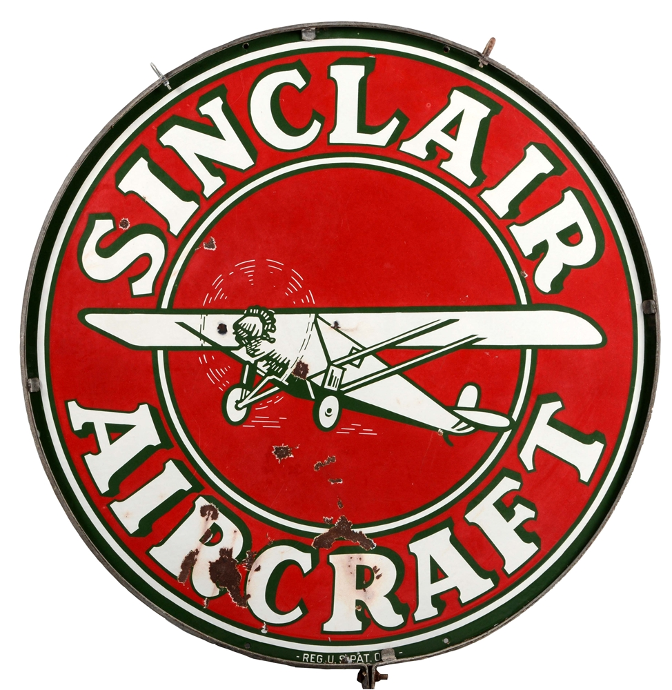 Sinclair Aircraft Porcelain Sign with Airplane Graphics.