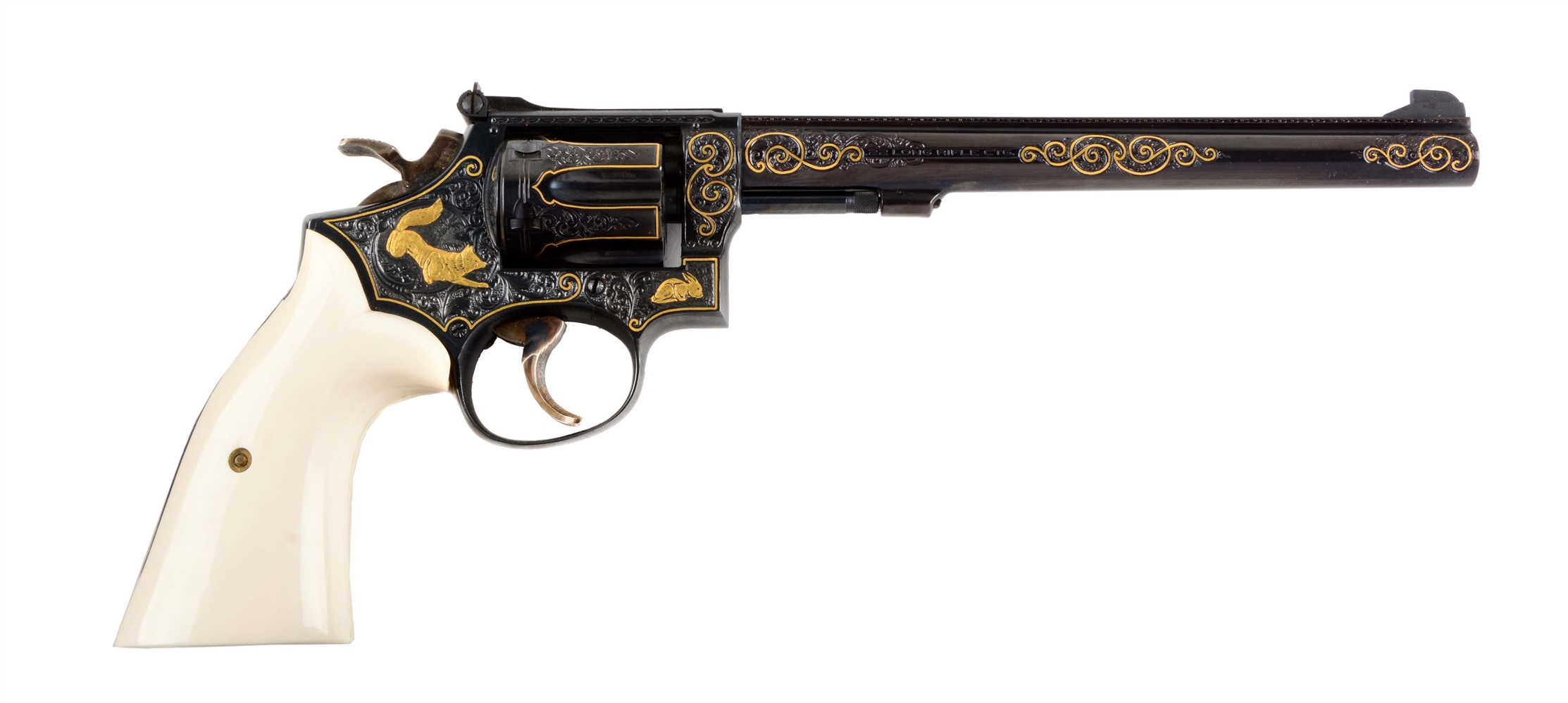 (M) Engraved & Gold Inlay S&W Model 17-3 Double Action Revolver.