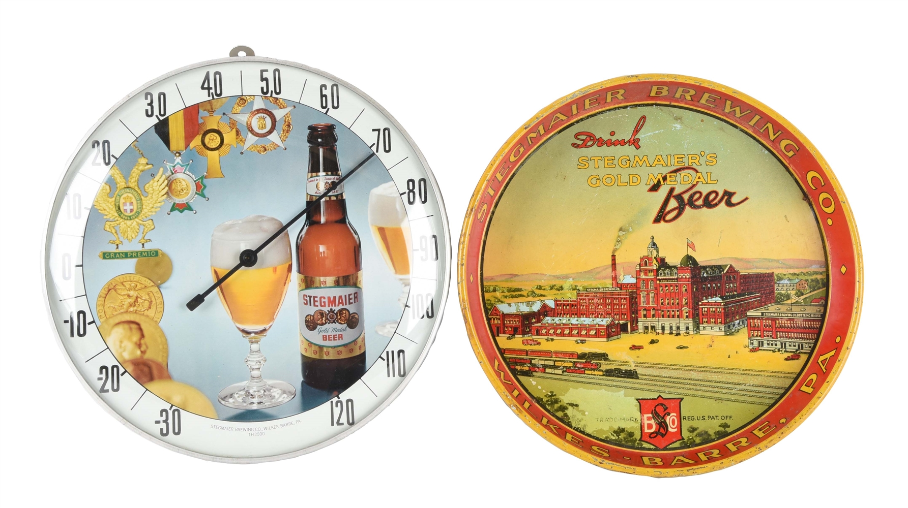 LOT OF 2: STEGMAIER BEER TRAY & THERMOMETER.