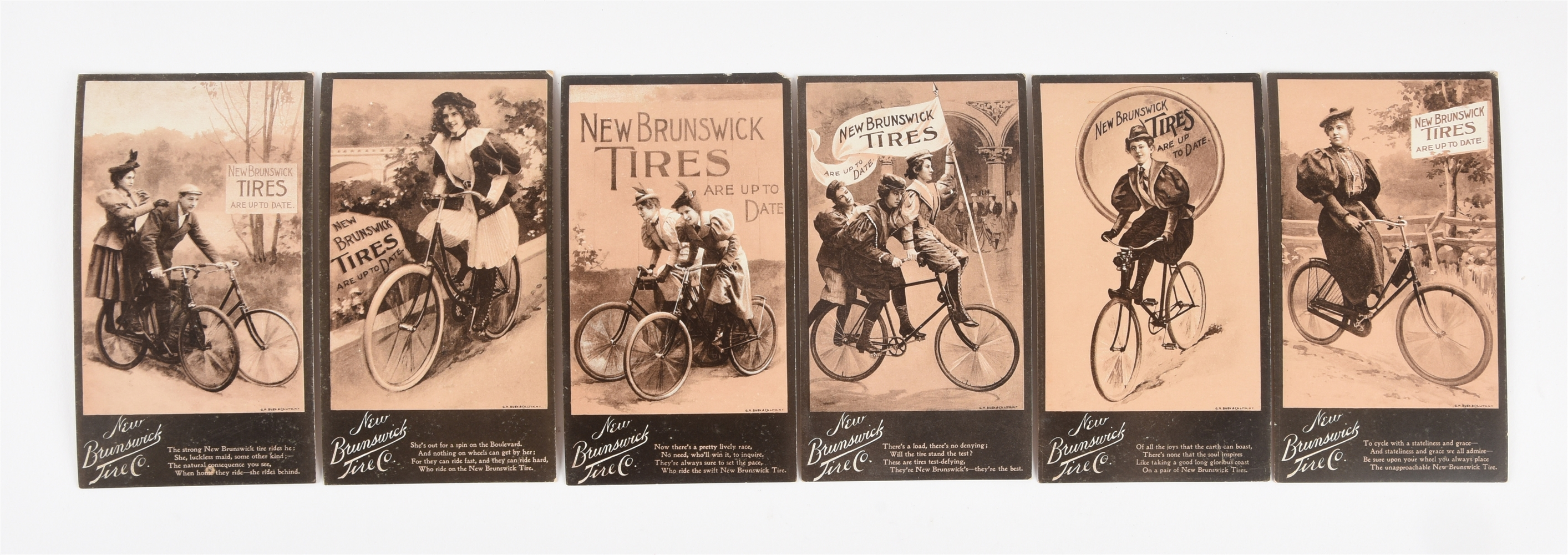 Lot of 6: 1897 New Brunswick Tires Trade Cards