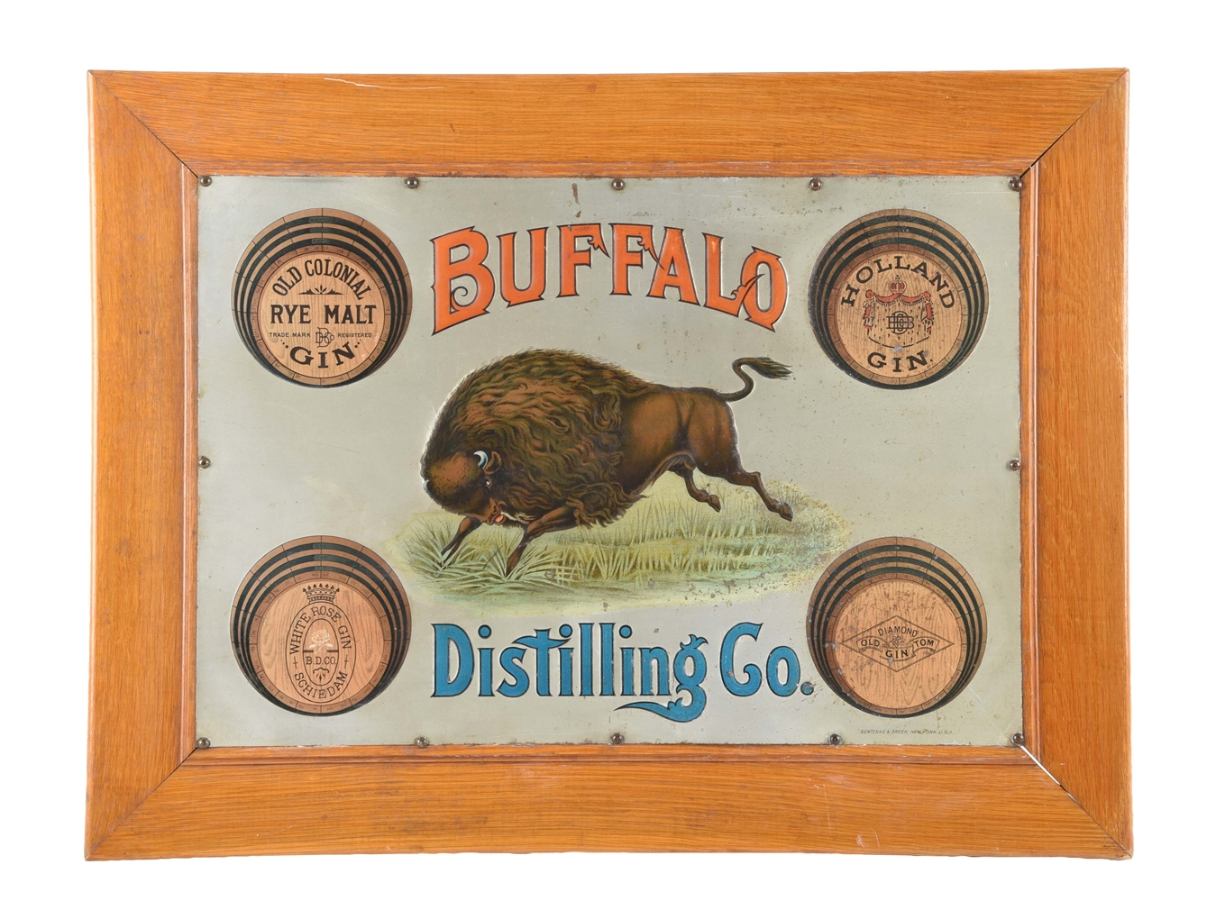 Early Buffalo Distilling Co. Embossed Tin Sign.