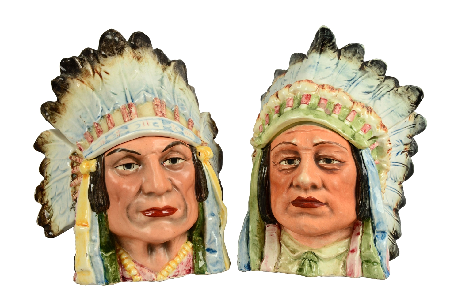 Lot Of 2: Native American Chief Majolica Tobacco Humidors.