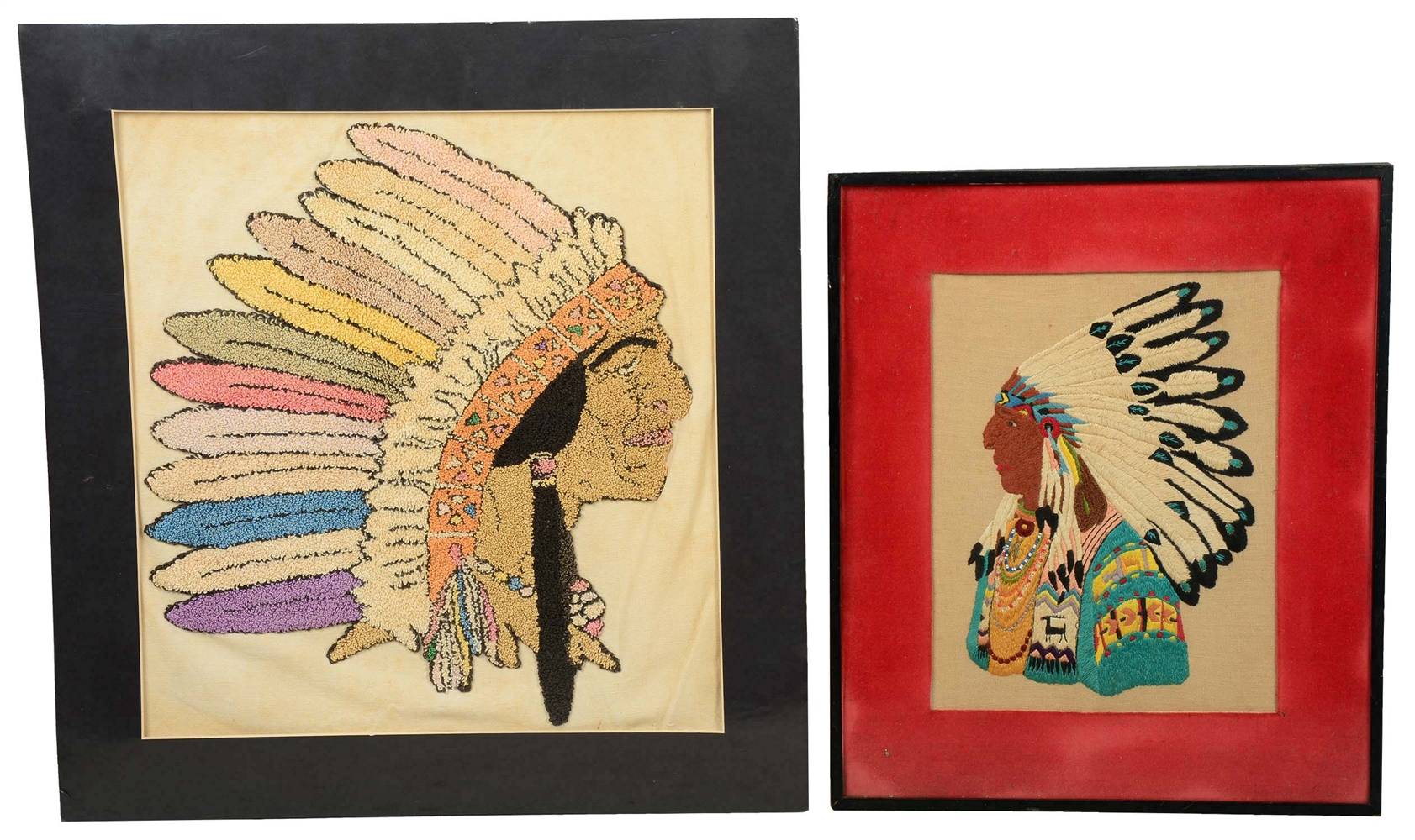 Lot Of 2: Needlepoint Embroideries Of Indian Chiefs.