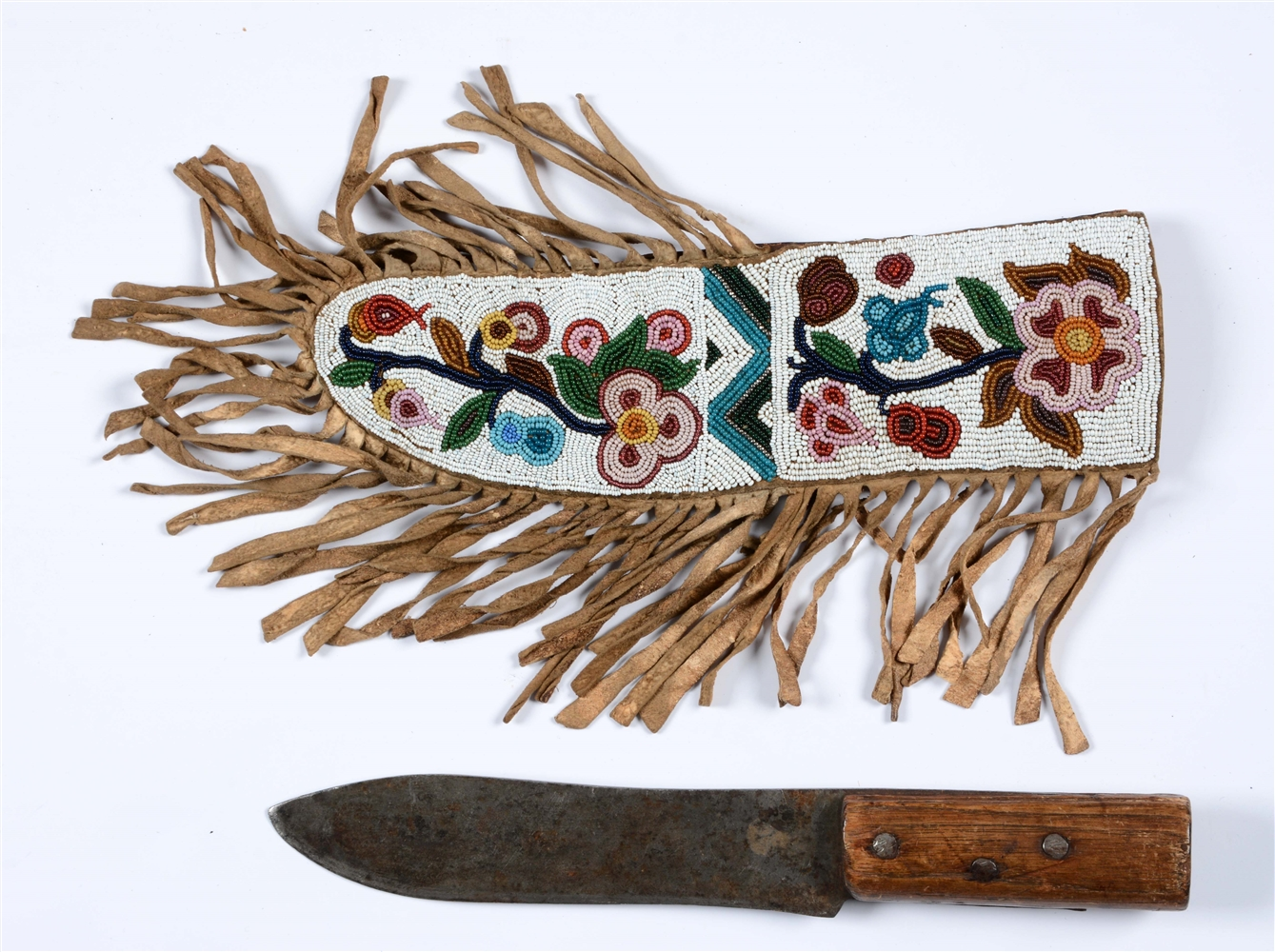 Plains Cree Knife Sheath And Knife.
