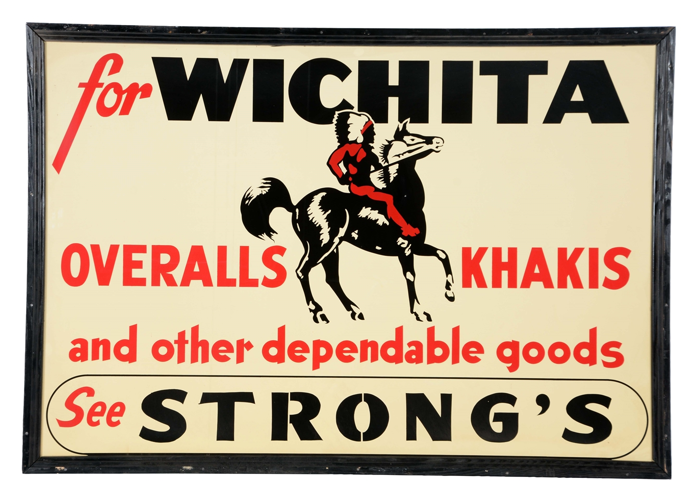 Wichita Overalls & Khakis Tin Sign With Wood Frame New Old Stock