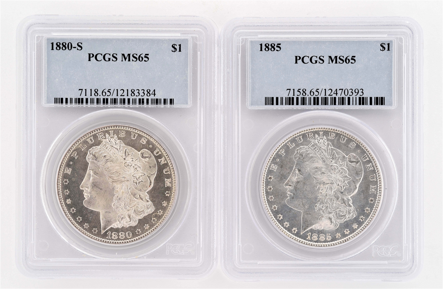 LOT OF 2: 1880-S & 1885 MORGAN SILVER DOLLARS.