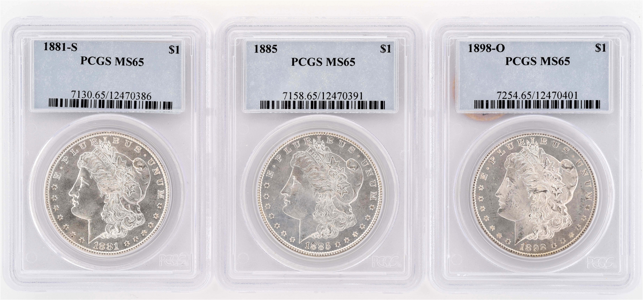 LOT OF 3: 1881,1885, 1898 MORGAN SILVER DOLLARS.