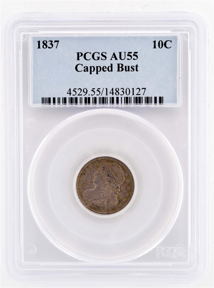 1837 10 CENT CAPPED BUST COIN.