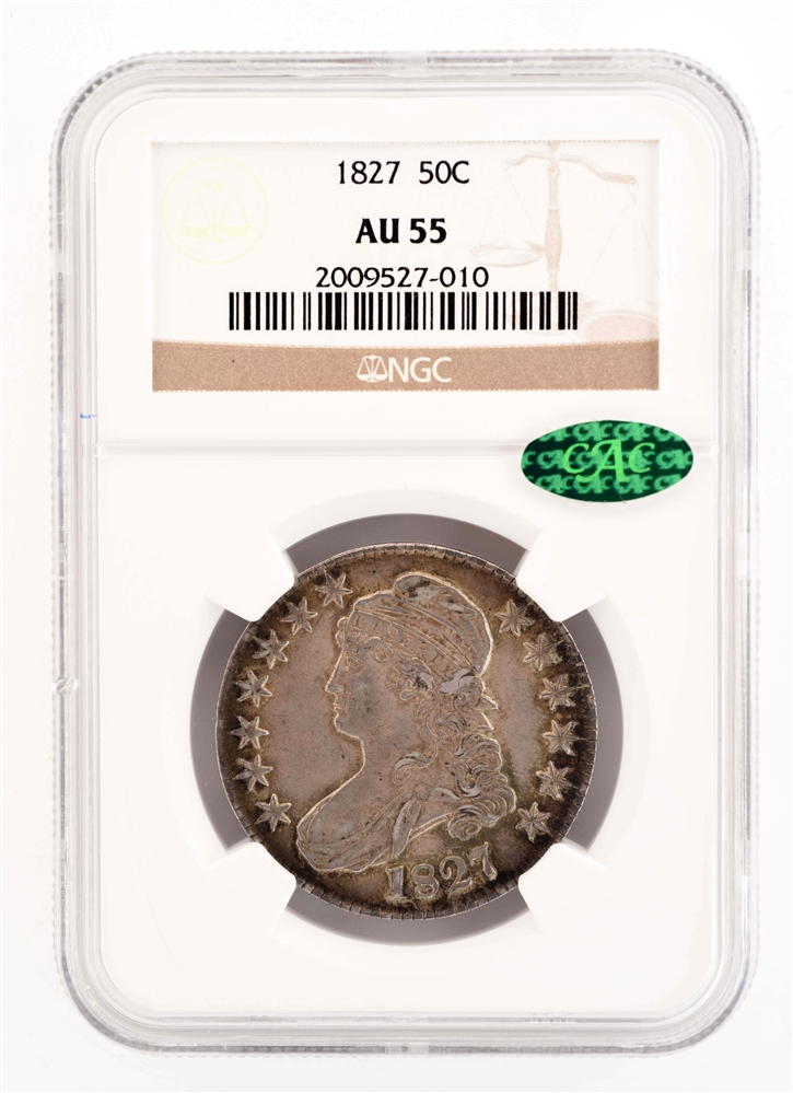 1827 50 CENT CAPPED BUST COIN.