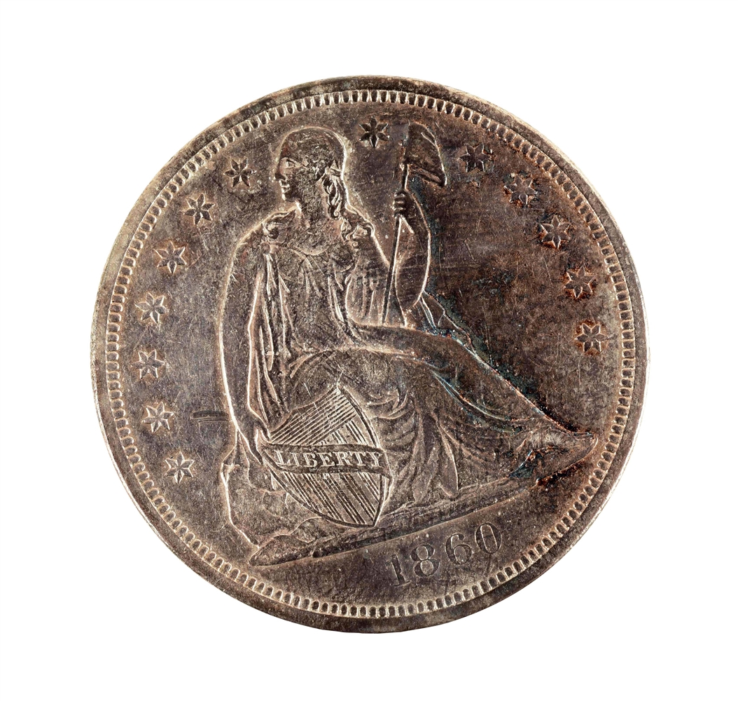 1860-O SEATED SILVER DOLLAR.