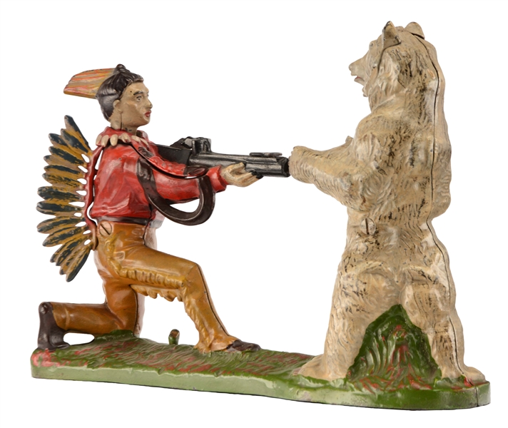 Cast Iron Indian Shooting Bear Mechanical Bank.