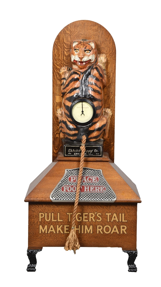 1¢ Exhibit Supply Co. Tiger Pull Strength Tester Arcade Game.