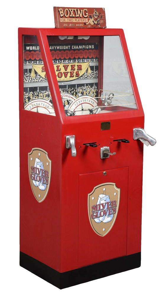 10¢ International Mutoscope Silver Gloves Boxing Arcade Game.