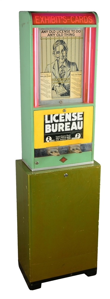2¢ Exhibit Supply Co. - Cards License Bureau Arcade Machine With Stand.