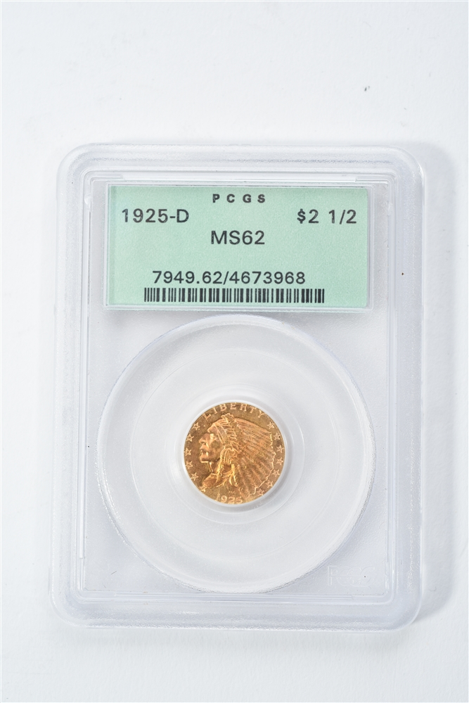 1925-D $2-1/2 GOLD INDIAN COIN.
