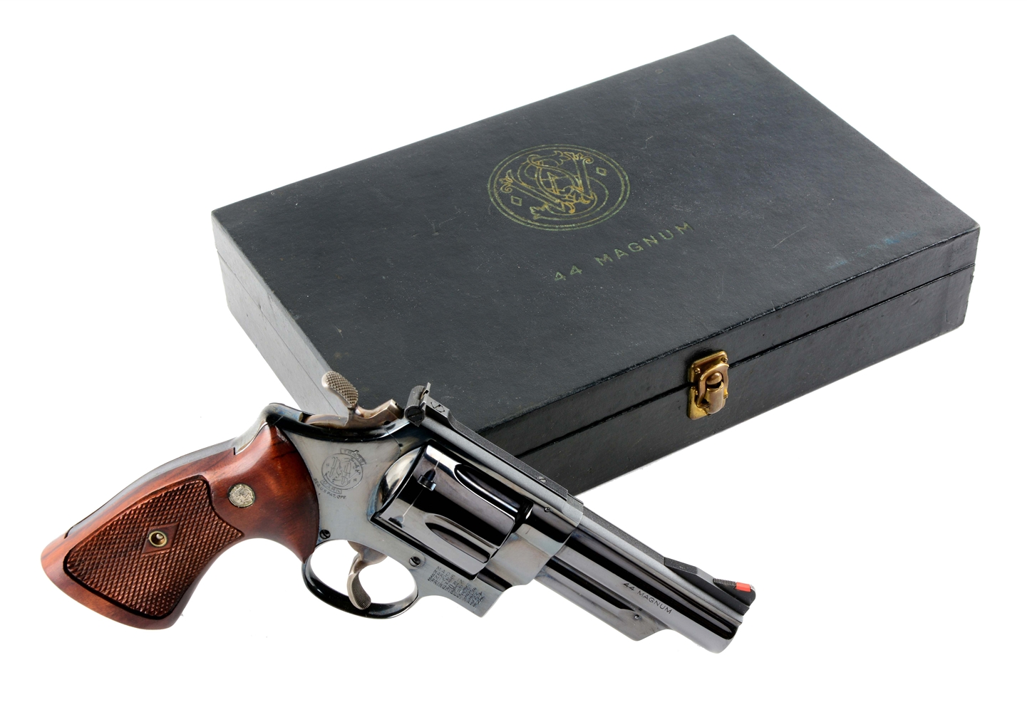 (C) Black Box S&W Model Pre-29 .44 Magnum Double Action Revolver.
