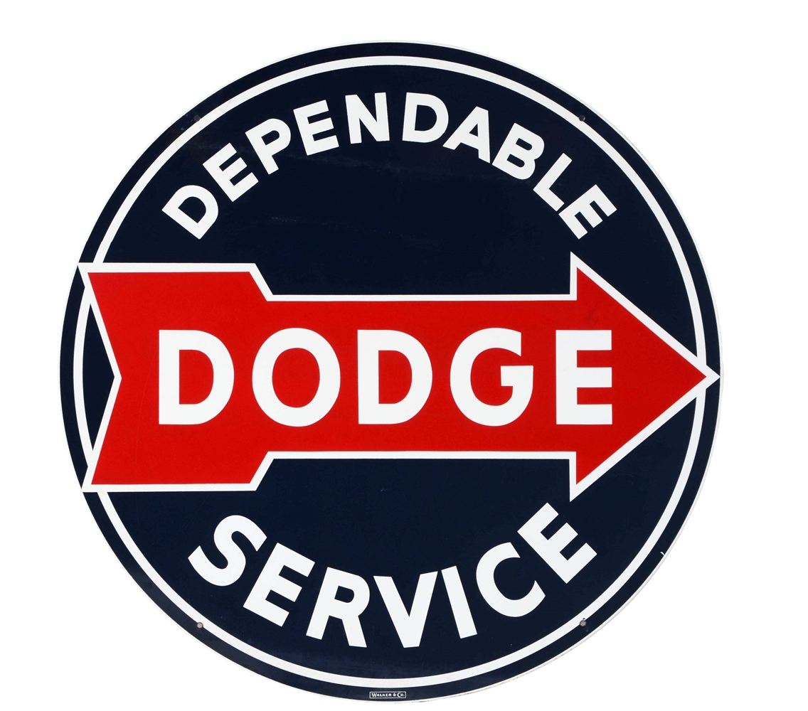 Dependable Dodge Service Porcelain Sign with Arrow Graphic.