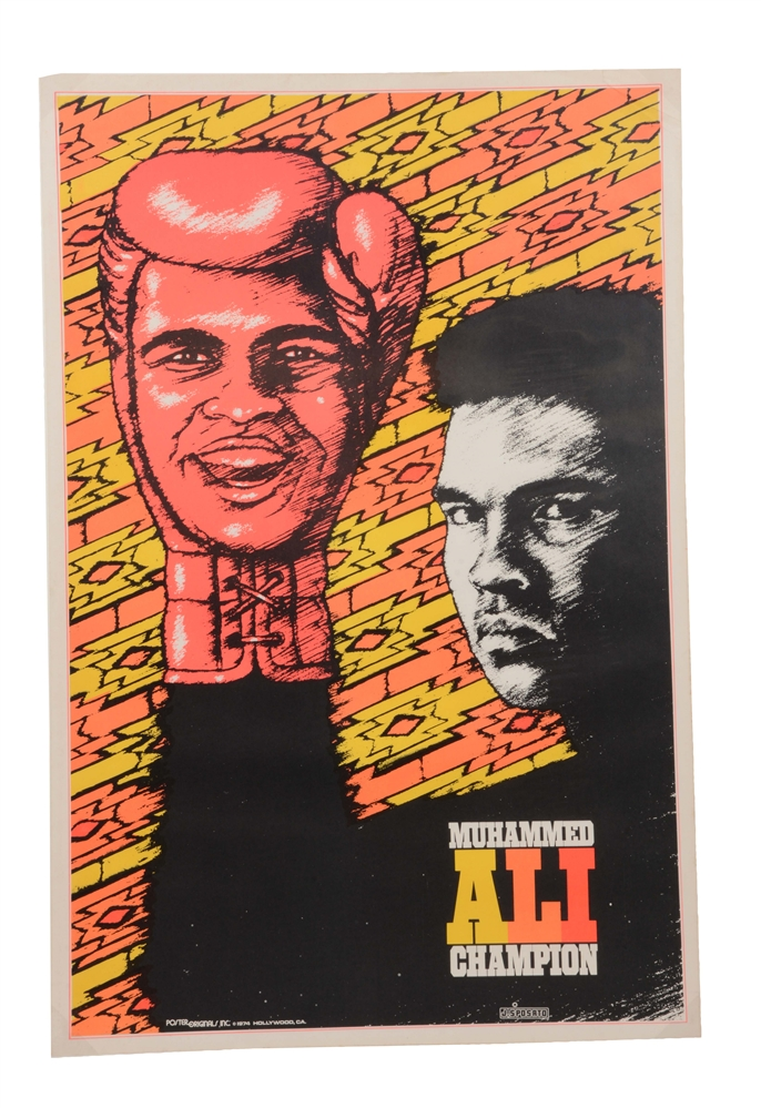 Lot of 3: 1970s Black Velvet Muhammad Ali Posters.