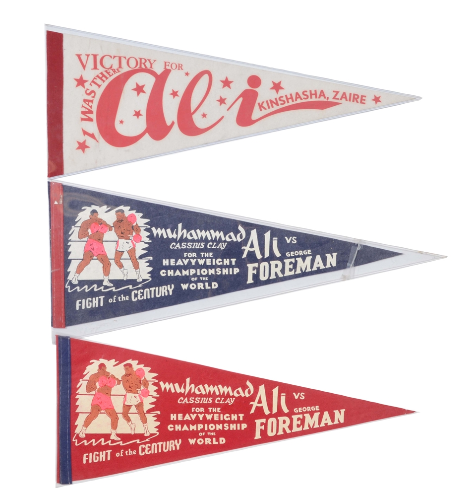 Lot of 3: Muhammad Ali vs George Foreman Rumble in the Jungle Pennants with Rare Onsight.