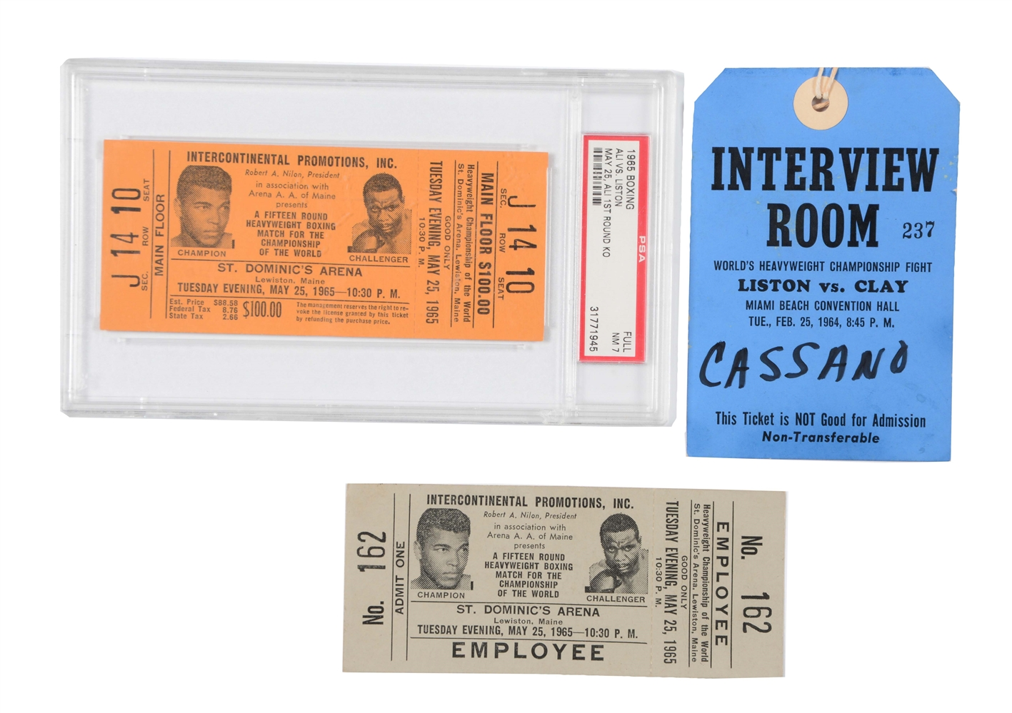 Muhammad Ali vs Sonny Liston Full Tickets and Press Pass.