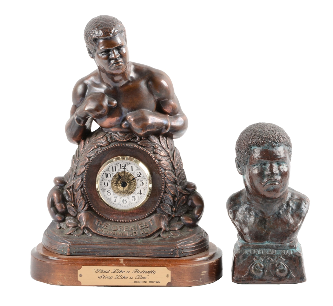 Lot of 2: Muhammad Ali Clock and Statue.