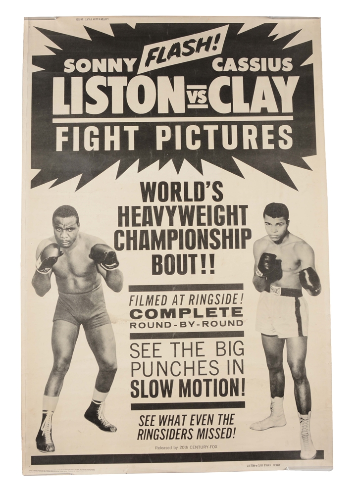 Cassius Clay vs Sonny Liston Fight Film Poster.