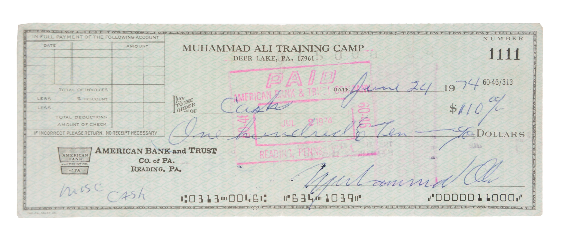 1974 Muhammad Ali Dual Signed Rumble in the Jungle Training Camp Check.