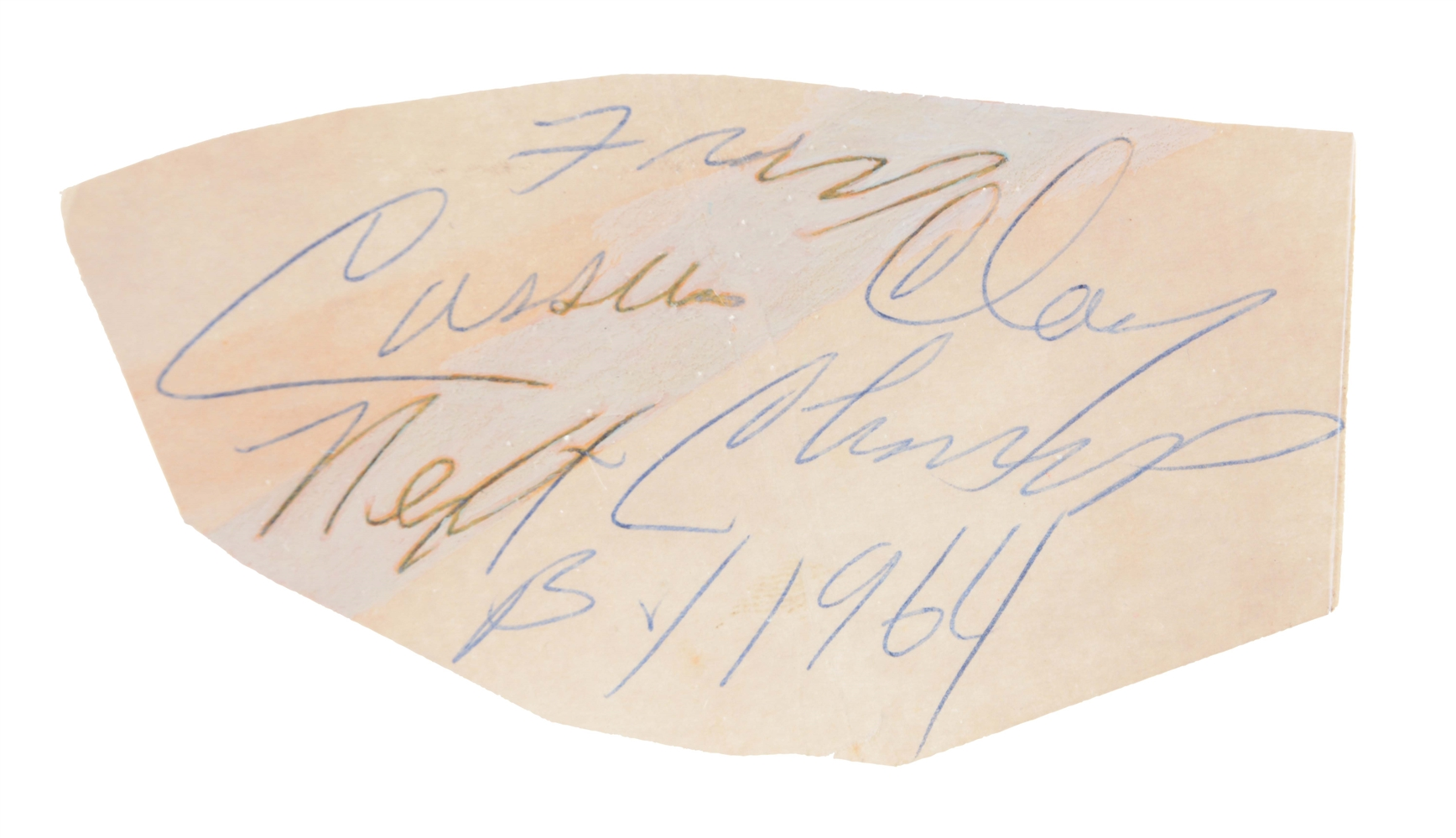 "Early Cassius Clay Signed & Inscribed ""Prophecy"" Signature Cut."