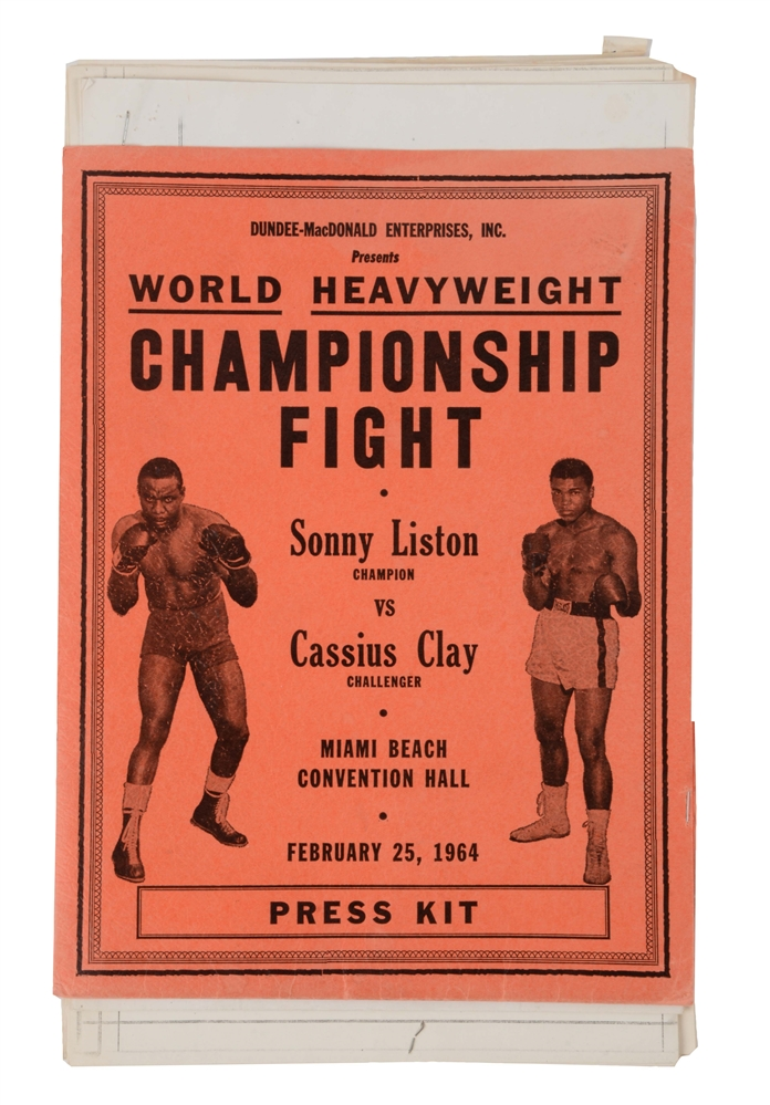 Very scarce Sonny Liston vs Cassius Clay Press Kit from 1st Fight.